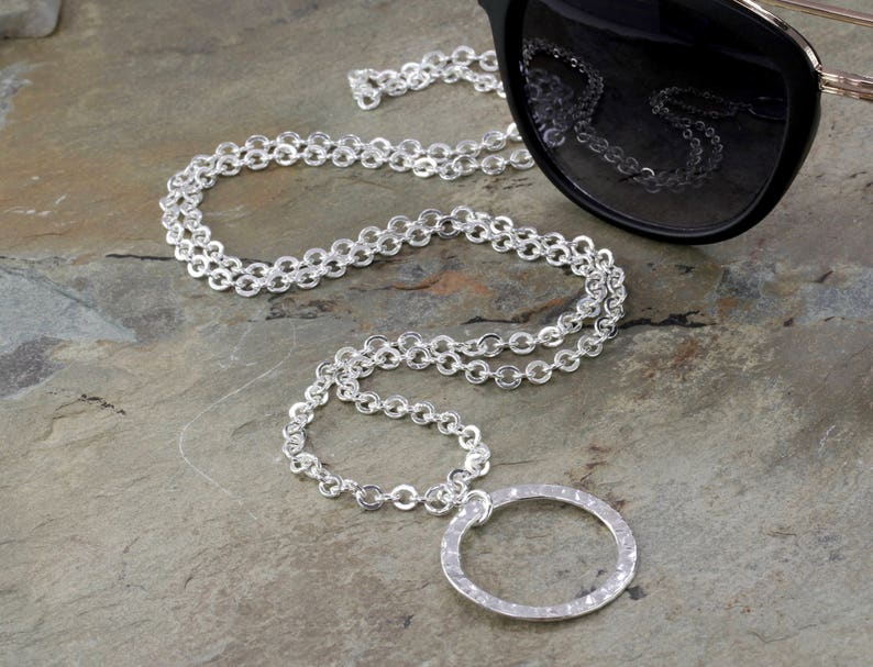 Organic Hammered Silver Eyeglass Chain with Loop Silver image 0