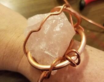 Chunky Rose Quartz cuff bracelet