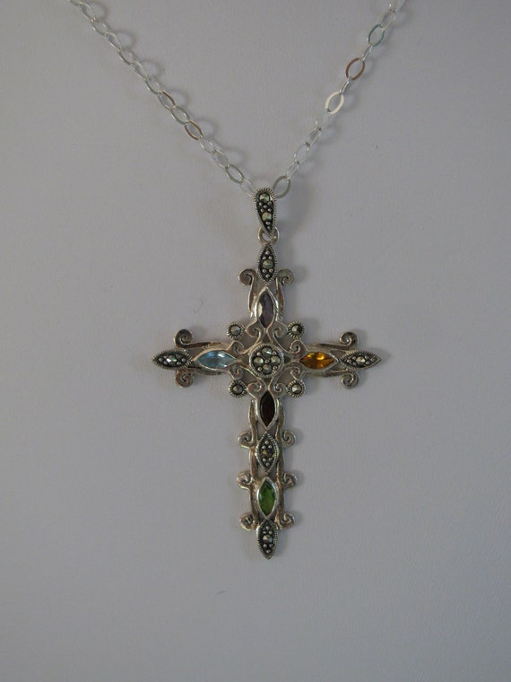"""Details about  /Sterling Silver Cross W// Inlaid Stones w// SS 18/"""" Chain"""