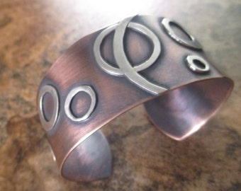 Circular Motion Bracelet - Copper and Sterling Silver Bracelet - Copper and Silver Jewelry - Rustic Bracelet