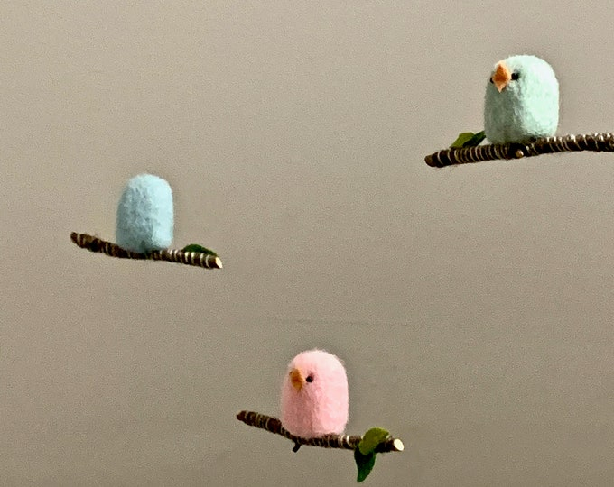 Featured listing image: Bird Baby Mobile, Needle Felted Bird Nursery Mobile in Green, Pink, and Blue
