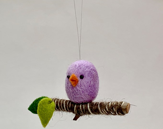 Featured listing image: Purple Needle Felted Bird Holiday Ornament, Bird on a Branch Ornament, Bird Christmas Ornament, Needle Felted Bird, Mini Bird
