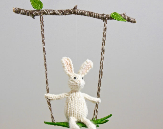 Featured listing image: Bunny Baby Mobile, Bunny Mobile, White Nursery, Woodland Nursery, Gender Neutral Nursery, Bunny Nursery, Bunny Decor, Knit bunny,