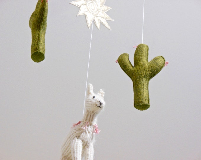 Featured listing image: Llama Cactus Baby Mobile, White Llama hanging crib mobile, Llama Nursery Decor, Boho Green Nursery, Gender Neutral Nursery, Cactus Decor,