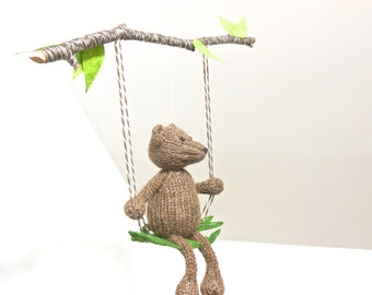 Baby Mobile, Bear Mobile, Woodland Baby Mobiles, Swing Mobile, Tree Branch Mobile, Animal Mobile, Rustic Nursery, Gender Neutral Mobile