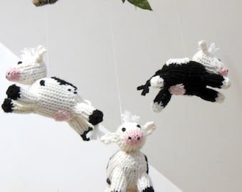 Cow Mobile, Baby Mobile, Cow Crib Mobile, Cow Baby Mobile, Animal mobile, Farm Nursery, Gender Neutral Nursery, White Black Nursery, Mobiles