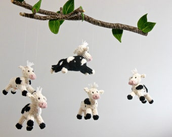 Cow Mobile, Cow Baby Mobile, Farm Barnyard Nursery, Boy Girl Baby Nursery, knit animal mobile, Black White Nursery, cow hanging crib mobile