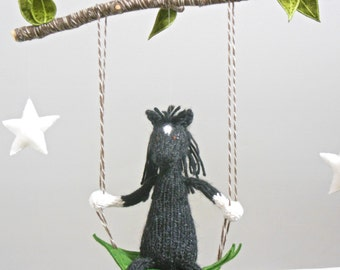 Horse and Star Baby Mobile, Knit Black Horse Crib Mobile, Horse Nursery Decor, Pony Hanging Mobile, Gender Neutral Mobile, Baby Boy Nursery