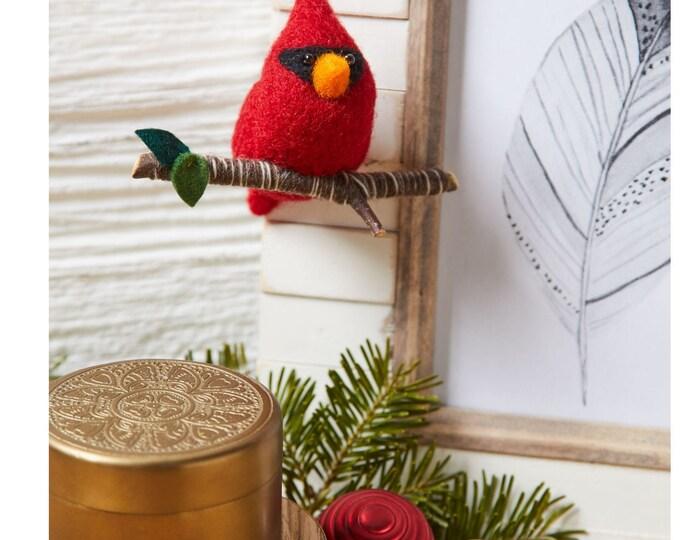 Featured listing image: Needle Felting Kit - Cardinal Bird Holiday Ornament - Craft Kit - Felting Supplies - Needle Felting Beginner - DIY Supplies