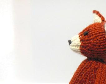 Fox Toy, Hand Knit Fox, Waldorf Fox, Natural Toy, Woodland Animal, Woodland Decor, Orange Fox