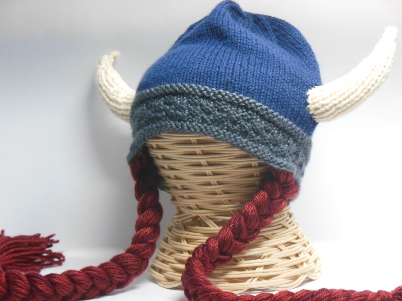 Knit Viking Hat Viking Helmet Long Braids Child Teen Viking  0d0e5c93e5a