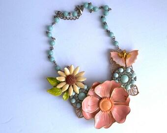 OOAK Pink Agate Statement Necklace wVintage Rhinestone Flower Brooch