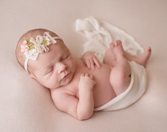 2x Baby Flower Headband Tieback Kids Hair Accessories Photo Prop Photography
