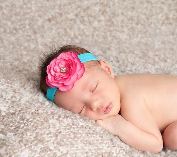 Baby Headbands and hats Newborn Hats For Girls Pink Flower Headband Infant Headband Pale Pink Headband Light Pink Headband  Flower Girl