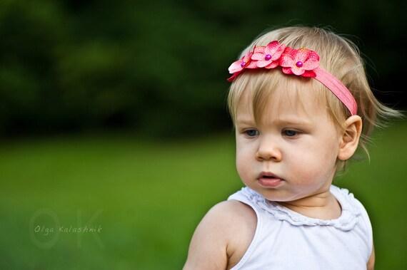 Pink Newborn Hydrangea Flower Headband Toddler Headband Newborn Headband Photo Prop Baby Headband