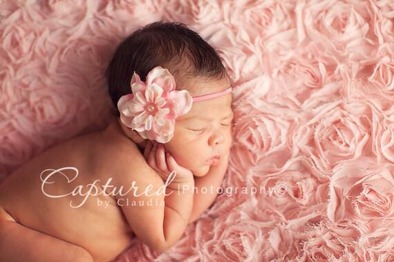 Delphinium Vintage Pale Light Pink Skinny Baby Headband. Pearl  7c33e84aebd