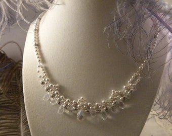 Bridal Jewelry Set with Swarovski Pearls and Crystal Briolettes