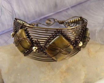 Tiger Eye Woven Cuff with Bronze Wire