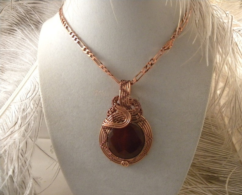 Red Agate wrapped with Copper Wire plus Copper Figaro 18 inch chain