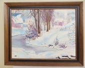 Original Painting SIGNED landscape Folk Art framed oil 17 x 21 quot Americana