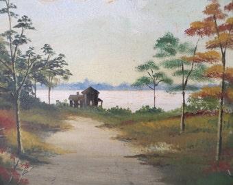 Vintage Oil Painting Landscape / gold wood frame / 15 by 13 framed
