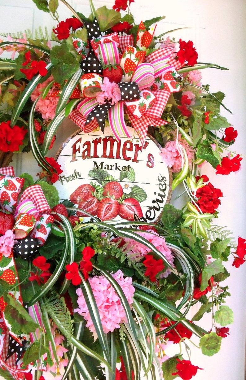 SALE CIJ XLg Strawberry Wreath Reds Door Wreath Summer Wreath Greens Geranium Wreath Wall Wreath Pinks Spider Plant wreath Wispy Wr