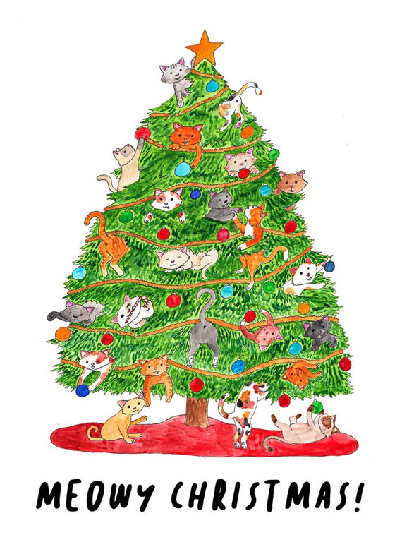 Meowy Christmas.Meowy Christmas Cat Christmas Card