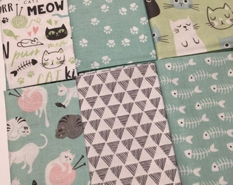 Purrfect Day by My Mind's Eye for Riley Blake Kitty Cat  Cotton Quilt Fabric FQ Fat Quarter bundle of 6