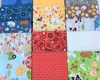 Down on the Farm by Doodlebug design for Riley Blake Farm animals, tractors  Cotton Quilt Fabric FQ Fat Quarter bundle of 18