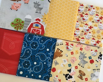 Down on the Farm by Doodlebug design for Riley Blake Farm animals, tractors  Cotton Quilt Fabric FQ Fat Quarter bundle of 6