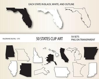 Niki kremer on etsy us states clip art 50 states clipart usa map printable digital clip art 570 publicscrutiny Image collections