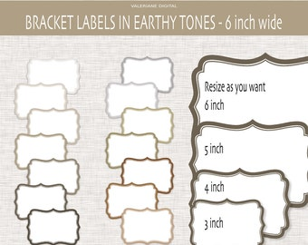 Bracket digital clipart frames in earthy tones, digital frame, clip art frame, frame clipart, digital scrapbook frames - 153