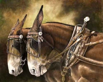 Bit by Bit- a  pastel drawing from artist Wendy Leedy's mule collection- fine art print, signed
