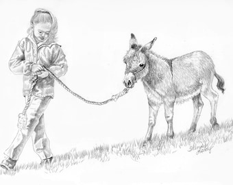 Gracie & Chrissy- a pencil drawing from the artist Wendy Leedy's  Animals and Their People collection- Fine art print, signed.