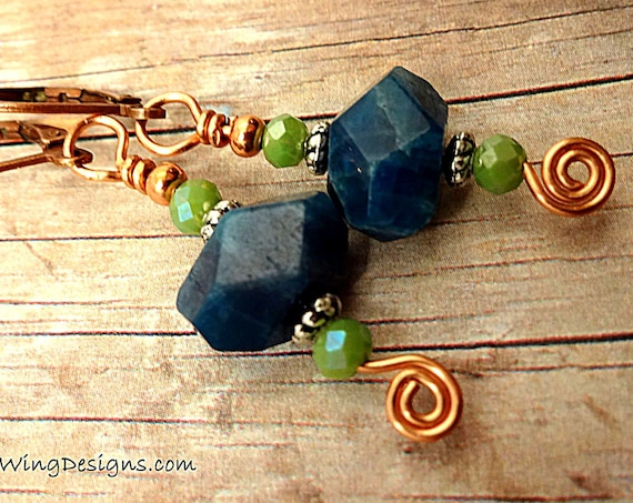 Blue Apatite and Green Czech Firepolish Boho Gemstone Earrings