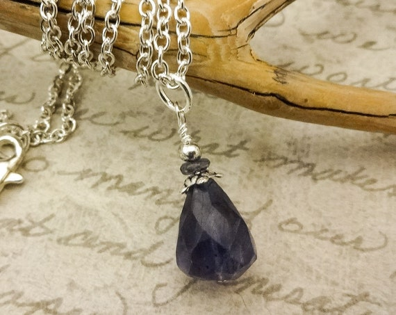 Iolite Pendant Necklace, Blue Gemstone Necklace, Iolite Gemstone Drop On Silver Chain, Wife Gift, Gift for Women, Mom Gift