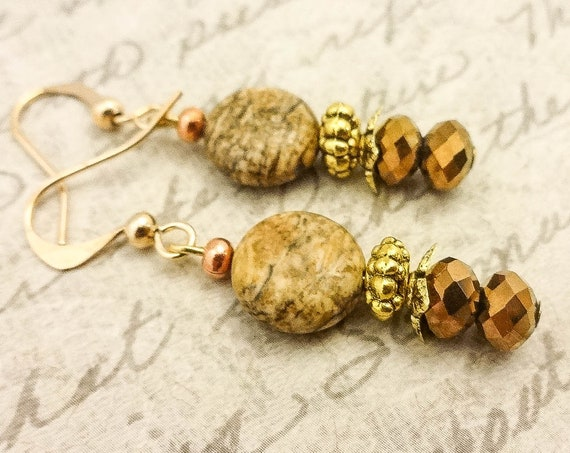 Picture Jasper and Czech Firepolish Earrings, Brown Gemstone Earrings, Jasper and Crystal Earrings, Gift for Her