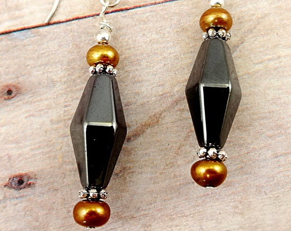 Metallic Gray Hematite and Brown Pearl Earrings
