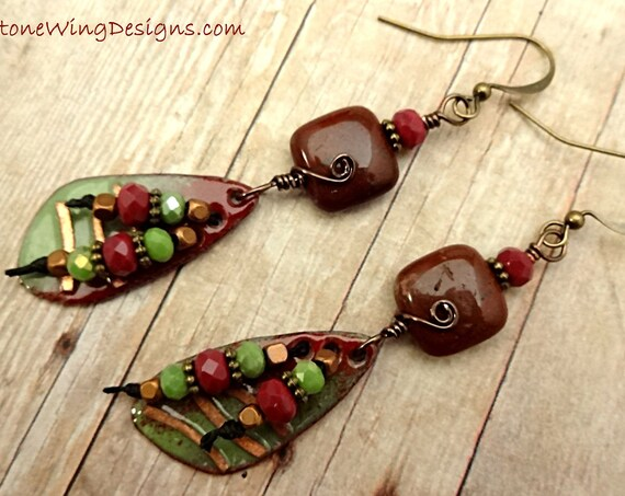 Artisan Enamel, Red Jasper Squares and Czech Firepolish Rondel Earrings