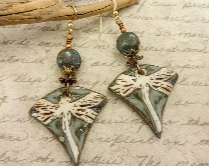 Artisan Ceramic Earrings, Green and White Dragonfly Earrings, Bohemian Earrings, Chrysoprase Gemstone Earrings, Unique Earrings