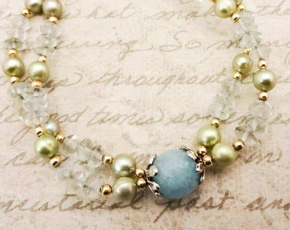 Angelite Fluorite and Freshwater Pearl Bracelet, Green and Blue Gemstone and Pearl Bracelet, Gemstone Jewelry, Gift for Wife