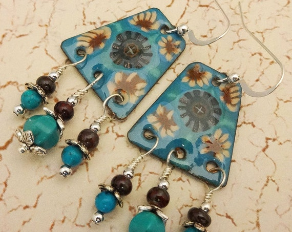 Artisan Enamel, Turquoise and Enamel Artisan Earrings, Blue Brown Tan Boho Earrings, Boho Gypsy Chandelier Earrings