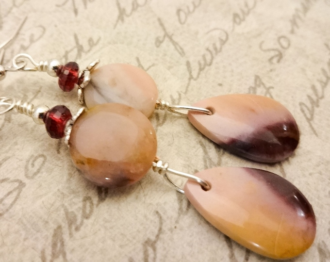 Pink Peruvian Opal, Mookaite and Garnet Earrings, Pink Gemstone Teardrop Earrings, One of a Kind Earrings