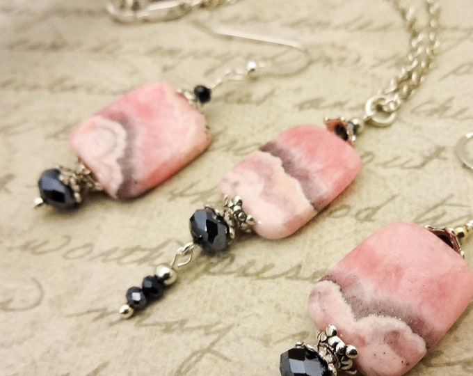 Rhodochrosite Necklace and Earrings, Gift for Her, Gift for Mom, Jewelry Set