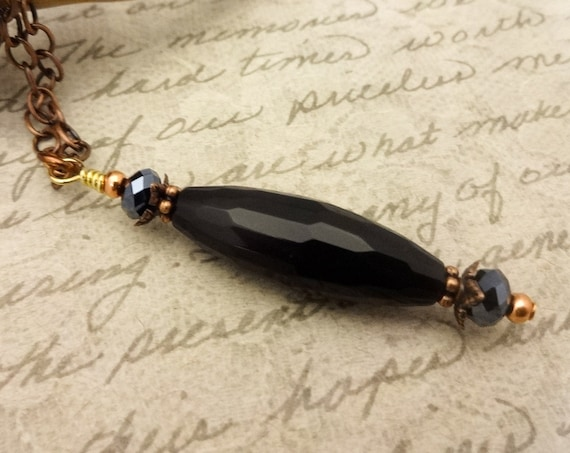 Black Onyx and Faceted Glass Pendant Necklace with Chain, Black and Gray Gemstone Necklace, Gold Chain Black Pendant