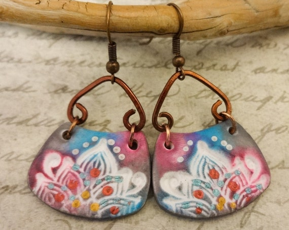 Bohemian Earrings in Pink Blue White and Gray with Copper Wire, Boho Style and Lightweight Earrings