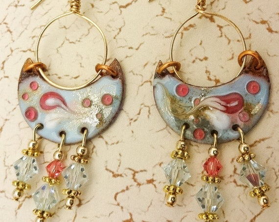 Artisan Enamel Earrings, Rose and Blue One of a Kind Artisan Earrings, Handmade Earrings, Gift for Her