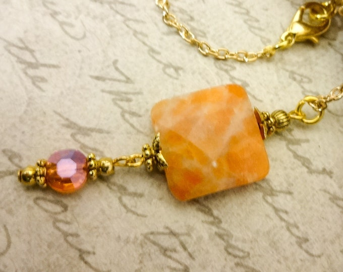 Everyday Necklace, Pendant Necklace, Orange Calcite Necklace, Orange Gemstone Necklace, Wife Gift, Gift for Women, Mom Gift