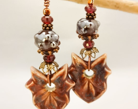 Bohemian Chic Artisan Ceramic, Lampwork and Garnet Earrings