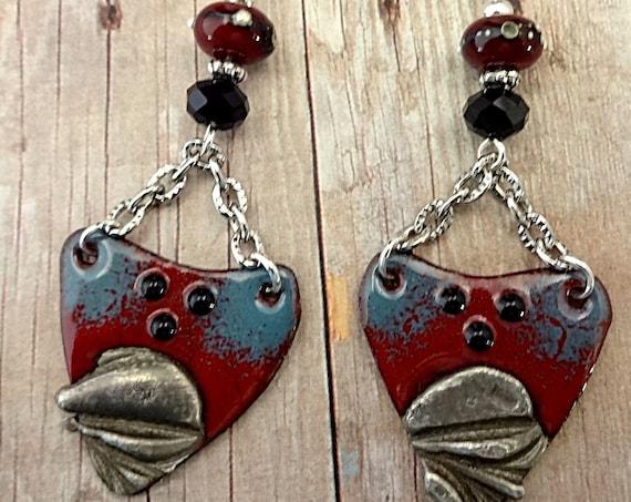 Boho Rustic Dark Red and Blue Enamel Earrings